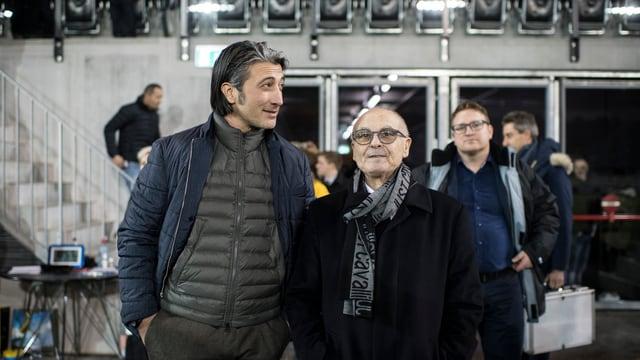 FCS-Trainer Murat Yakin und FCS-Präsident Aniello Fontana bei der Eröffnung des neuen Stadions.