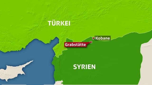 Karte von Grenze zwischen Türkei und Syrien