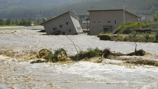 Überschwemmungen in Hokkaido, umstürzende Häuser.