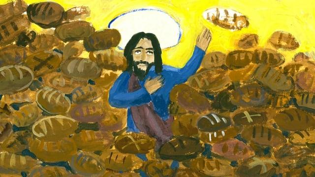 Illustration: Jesus umgeben von Brot