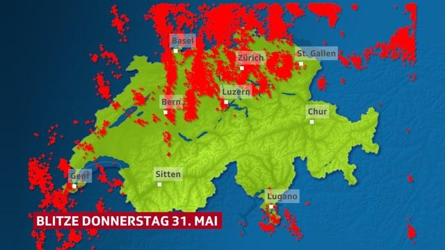 Blitze als Farbpunkte auf der Schweiz Karte eingetragen.