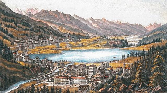 Farbansicht von St. Moritz