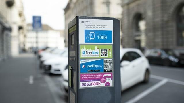 Parkplätze und eine Parkuhr in Zürich