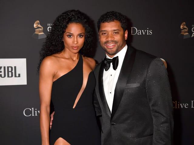 Russell Williams mit Ehefrau Ciara, die als Hip-Hop und R&B-Sängerin bekannt ist.