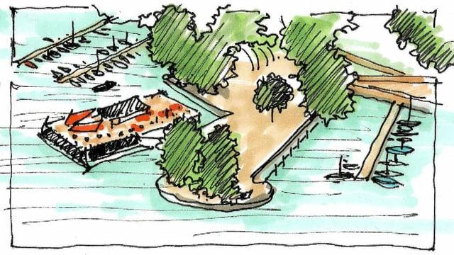 Eine farbige Skizze zeigt eine Idee, wie der Quai am Zürcher Seebecken aussehen könnte
