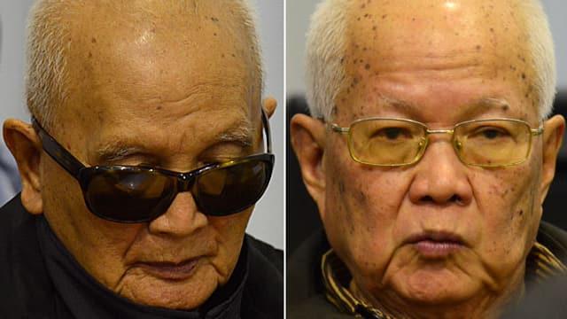 Rote-Khmer-Chefideologe Nuon Chea und Ex-Staatschef Khieu Samphan.