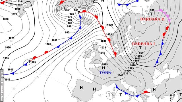 Wetterkarte mit der Luftdruckverteilung und den Fronten über Europa.
