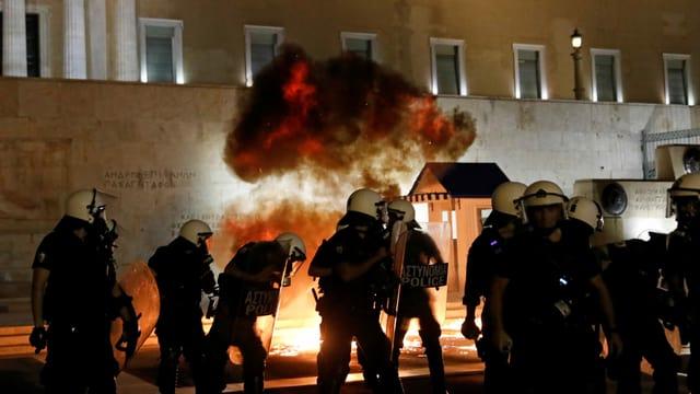 Demonstrierende in Athen