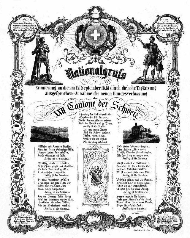 Undatiertes Erinnerungsblatt von Johann Jakob Leuthy zur ausgesprochenen Annahme der neuen Bundesverfassung