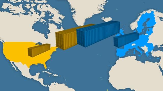 Weltkarte mit Nordamerika und Europa.