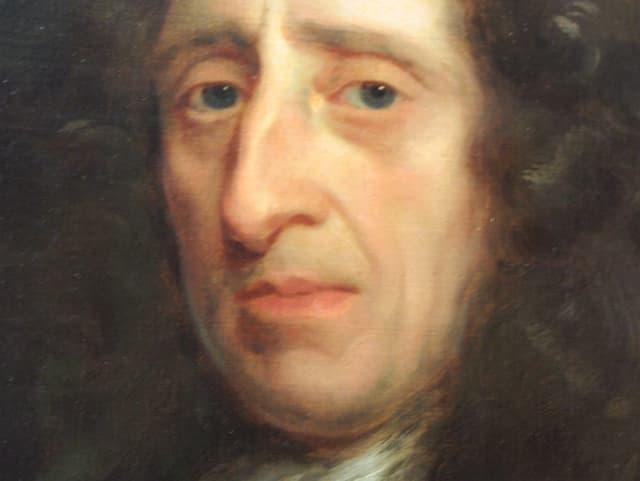 Das gemalte Porträt eines Mannes mit gelockter Perücke und markanter Nase.