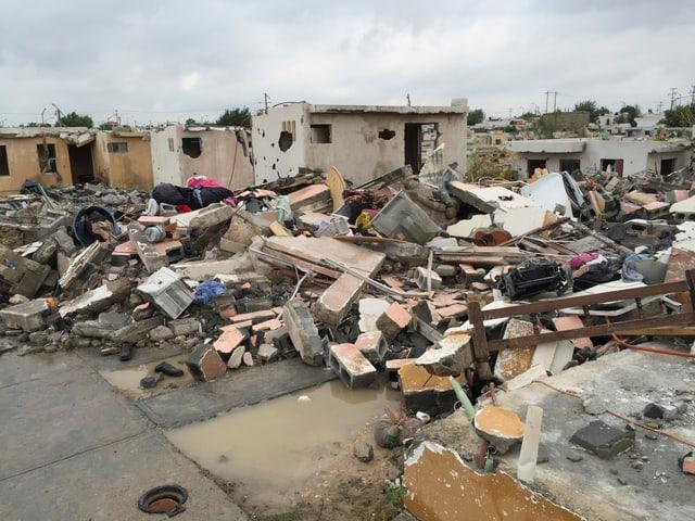 Zerstörte Gebäude in Ciudad Acuña.