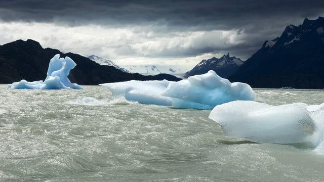 Eisschollen auf einem See vor einer Berglandschaft.