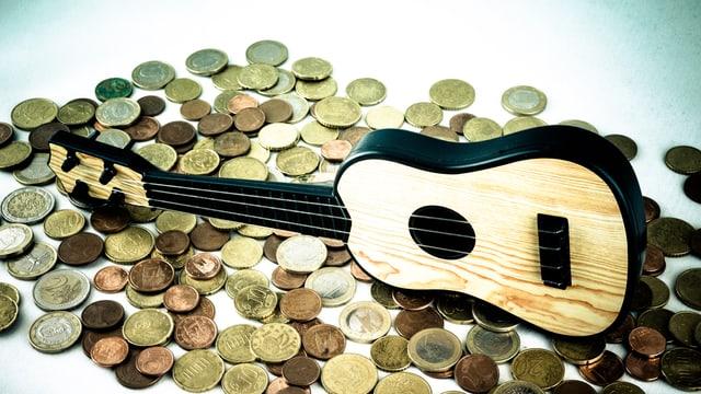 Gitarre auf Münzen