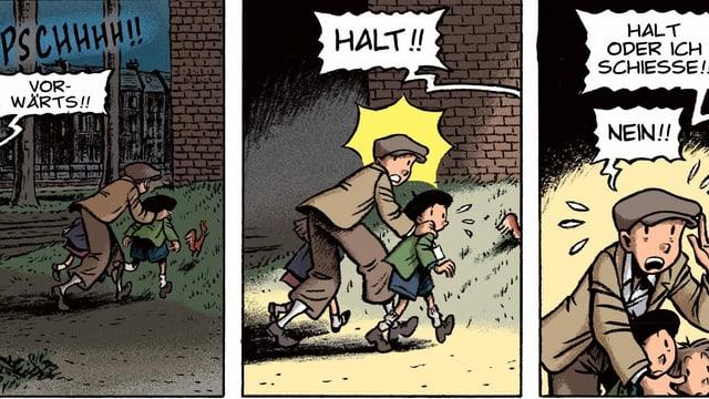 Spirou rennt mit zwei jüdischen Kindern in Deckung, ein Soldat hält sie an und droht zu schiessen.