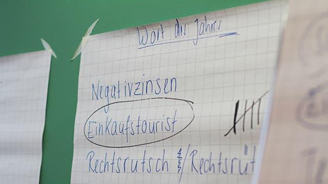 Wort Einkaufstourist steht zusammen mit anderen Wörtern auf einem Zettel