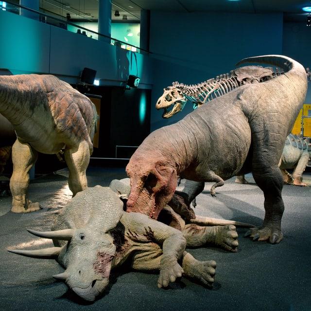 verschiedene Dinosaurier mit schuppiger grünlicher Haut im Museum
