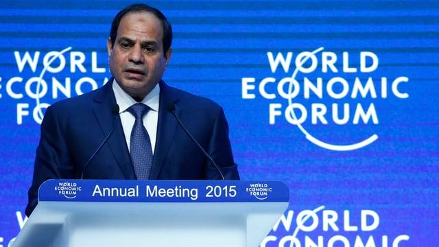 al-Sisi am Rednerpult des World Economic Forum in Davos.