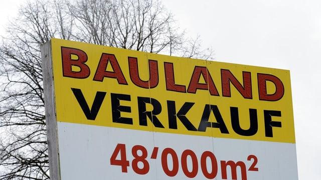 Verkaufstafel für Bauland.