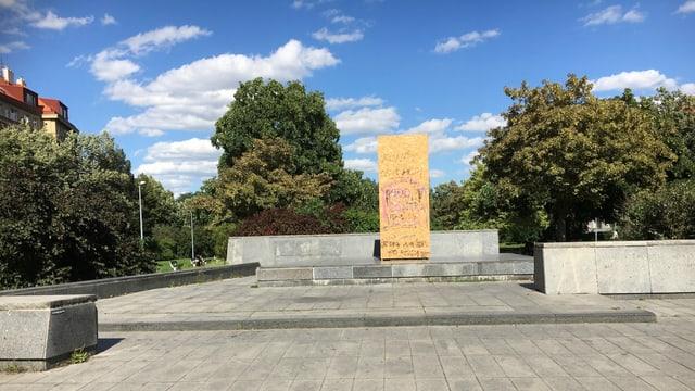 Der Platz mit dem fehlenden Marschall Iwan Konew.