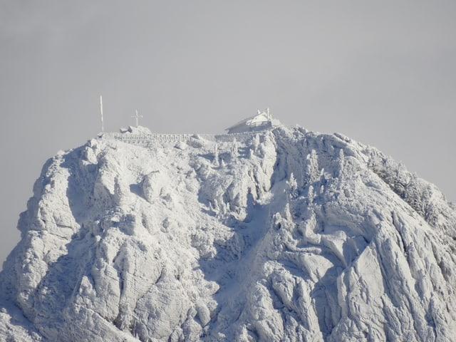 Gipfel ganz eingeschneit, so dass alles tief weiss ist.