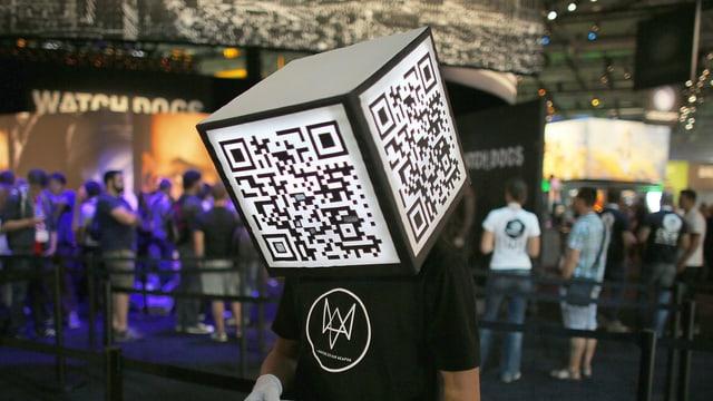 Ein Werbeträger mit einem aufgesetzten QR-Code