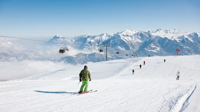 Skifahrer auf dem Pizol