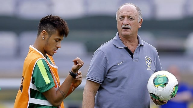 Luiz Felipe Scolari und Barcelona-Neuzugang Neymar.