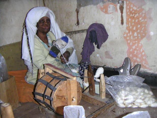 Eine Lepra-kranke Frau in Äthiopien.