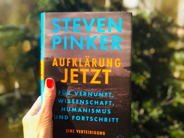 Das Sachbuch •Steven Pinker: «Aufklärung jetzt» (2018, S. Fischer) vor einem Weihnachtsbaum