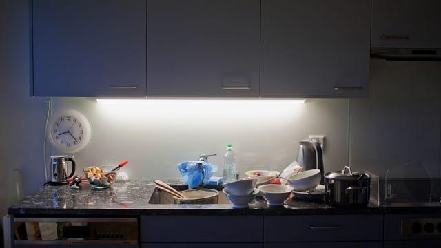 Eine Küche, beleuchtet von einer Neonröhre.