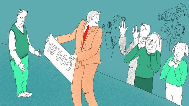 Ein Mann übergibt einen 10'000-er Schein. Er wird von vielen Menschen fotografiert.