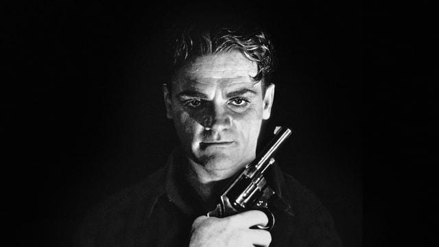James Cagneys Gesicht mit Pistole in der Hand.