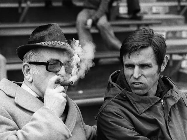 Zigarren- und Sportliebhaber: Edi Nägeli 1977 zusammen mit dem damaligen FCZ-Trainer Timo Konietzka.
