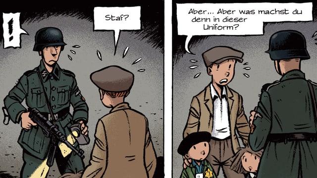 Ein uniformierter Nazi richtet seine Waffe auf Spirou, der zwei jüdische Kinder bei sich hat.