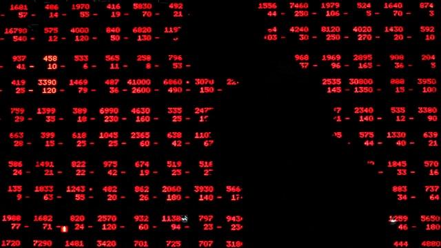 Der Umriss einer Frau vor einem Bildschirm voller roten Zahlen.