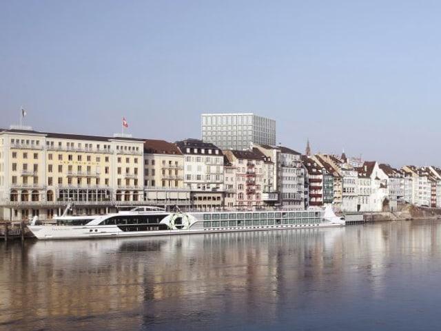 Visualisierung des neuen Spitalturms: Blick auf den Turm vom Kleinbasler Rheinufer aus