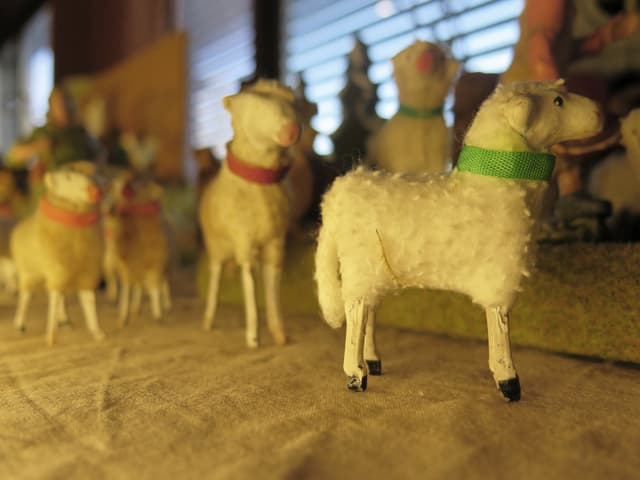 Mehrere Schafe aus Wolle.