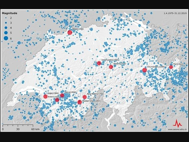 Il pli ferm terratrembel en il nord da las alps ha giu lieu a Basilea dal 1356. La carta mussa ils 10 pli ferms terratrembels en Svizra dals ultims millennis (cotschen). Era da vesair èn ils epicenters dals terratrembels dal 1975-2018 cun ina fermezza pli ferma che 2.
