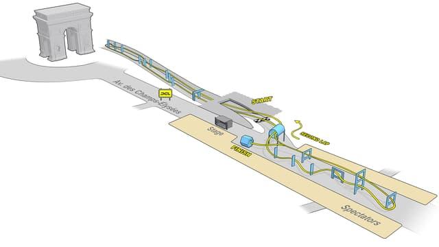 Der Plan der Rennstrecke in Paris. Die halbe Strecke liegt über der Champs-Élysées, die andere führt durch einen stillgelegten Auto-Tunnel.