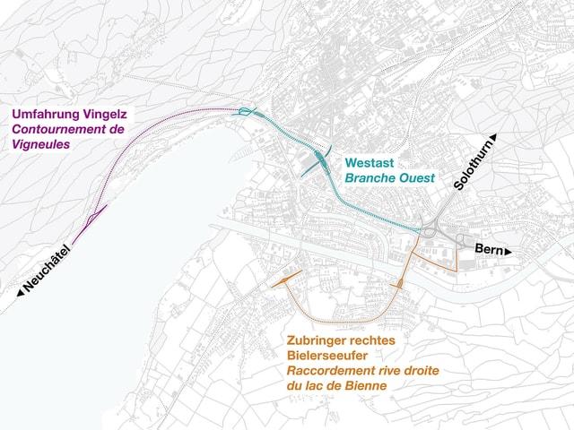 Stadtplan mit eingezeichneten Linien Westast, Zubringer rechtes Bielerseeufer und Umfahrung Vingelz