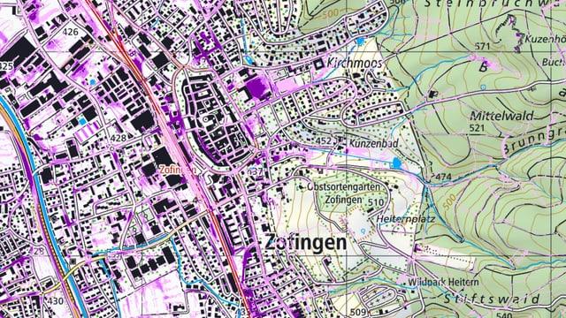 Karte von Zofingen mit den Gefährdungseinzeichnungen