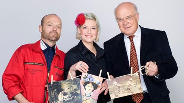 Enie van de Meiklokjes und die Kunstexperten Wolfgang Flatz und Raimund Wünsche.
