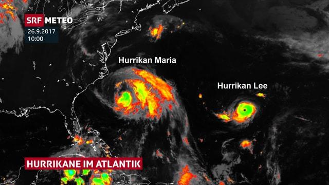 Satellitenbild zeigt auf dem Altlantik die beiden Hurrikane Lee und Maria.