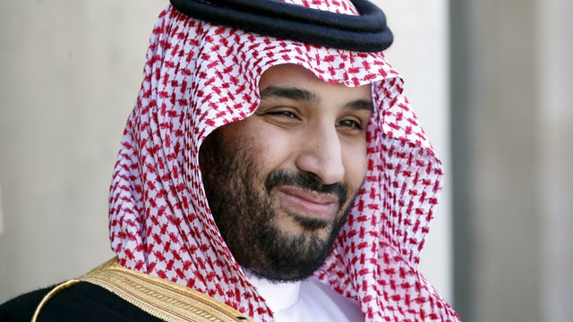 Arabischer Mann mit Bart und Kufiya (Kopftuch).
