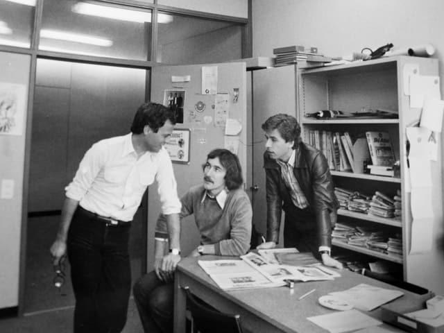 Charles Clerc, Walter Kälin und Peter Bühler im Büro.