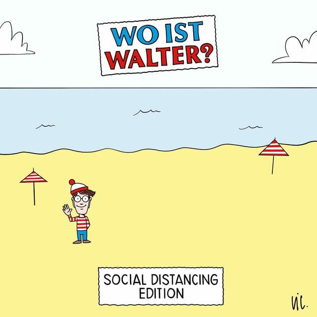 """Zeichnung: An einem leeren Strand steht eine Figur mit roter Mütze und gestreiftem Pulli. Darüber steht: """"Wo ist Walter? Social Distancing Edition"""""""