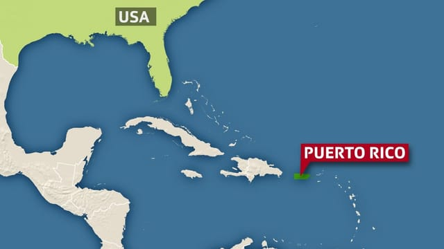 Karte der Karibik/Golf von Mexiko, Puerto Rico und die USA sind eingezeichnet/angeschrieben.