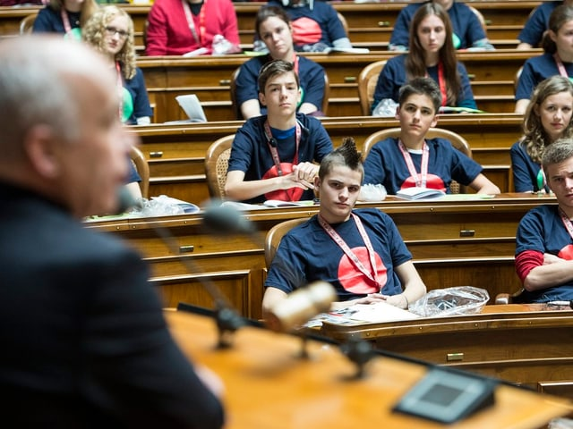 Maurer spricht vor Plenum.