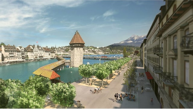 Visualisierung autofreie Bahnhofstrasse in der Stadt Luzern mit Kapellbrücke